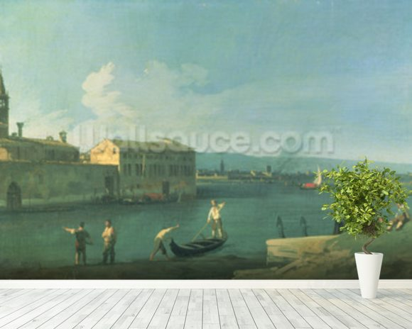 View of San Michele in Isola, Venice (oil on canvas) mural wallpaper room setting