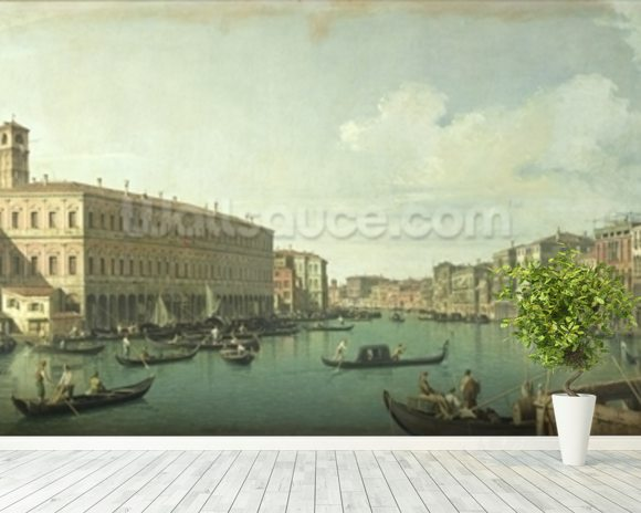 The Grand Canal from the Rialto Bridge (oil on canvas) wall mural room setting