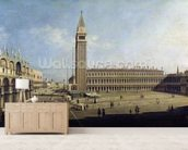 Piazza San Marco, Venice (oil on canvas) wallpaper mural living room preview
