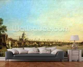 The Thames from the Terrace of Somerset House Looking Towards St. Pauls 1750 Mural Wallpaper Wallpaper Wall Murals