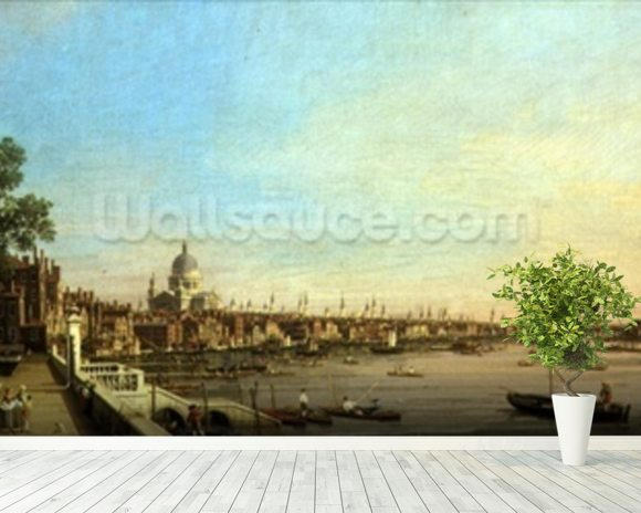 The Thames from the Terrace of Somerset House Looking Towards St. Pauls, c.1750 (oil on canvas) mural wallpaper room setting