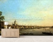 The Thames from the Terrace of Somerset House Looking Towards St. Pauls, c.1750 (oil on canvas) mural wallpaper living room preview