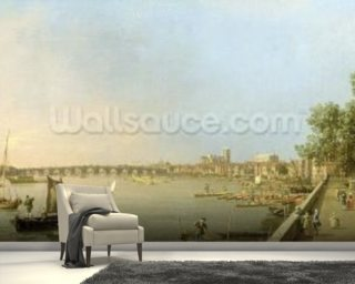 The Thames from the Terrace of Somerset House, looking upstream Towards Westminster and Whitehall, c.1750 (oil on canvas) wall mural