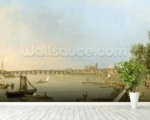 The Thames from the Terrace of Somerset House, looking upstream Towards Westminster and Whitehall, c.1750 (oil on canvas) wall mural room setting