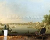 The Thames from the Terrace of Somerset House, looking upstream Towards Westminster and Whitehall, c.1750 (oil on canvas) wall mural kitchen preview