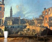 Venice: Campo San Vidal and Santa Maria della Carita (The Stonemasons Yard) 1727-28 (oil on canvas) mural wallpaper kitchen preview