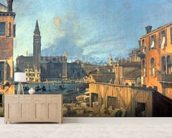 Venice: Campo San Vidal and Santa Maria della Carita (The Stonemasons Yard) 1727-28 (oil on canvas) mural wallpaper living room preview