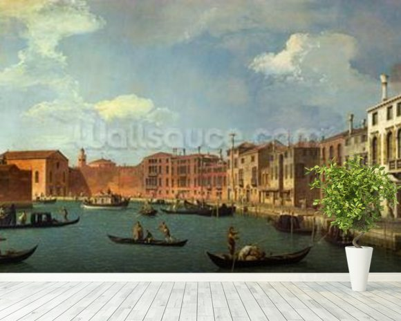 View of the Canal of Santa Chiara, Venice (oil on canvas) mural wallpaper room setting