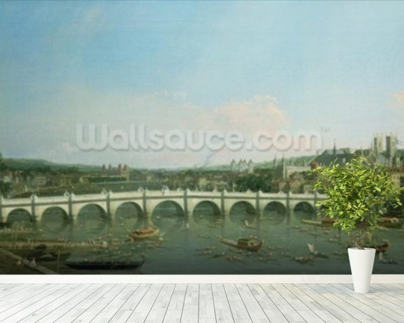 Westminster Bridge from the North with Lambeth Palace in distance wall mural room setting