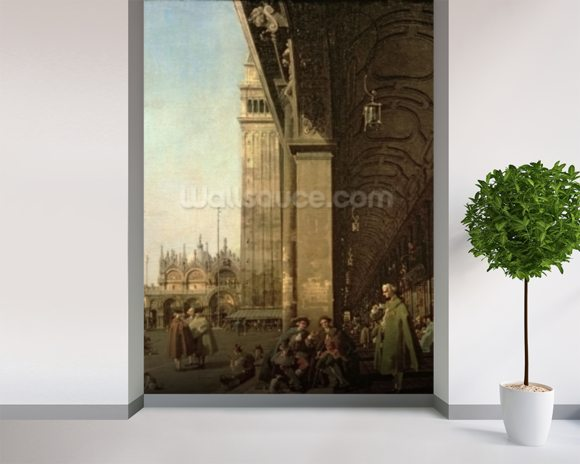 Venice: Piazza di San Marco and the Colonnade of the Procuratie Nuove, c.1756 (oil on canvas) wallpaper mural room setting