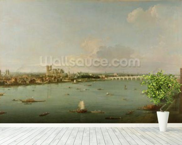 View of the Thames from South of the River mural wallpaper room setting
