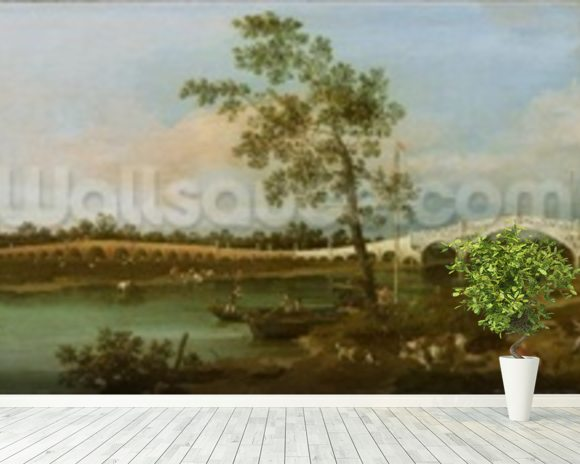 Old Waltons Bridge, 1755 (oil on canvas) wallpaper mural room setting