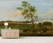 Old Waltons Bridge, 1755 (oil on canvas) wallpaper mural living room preview