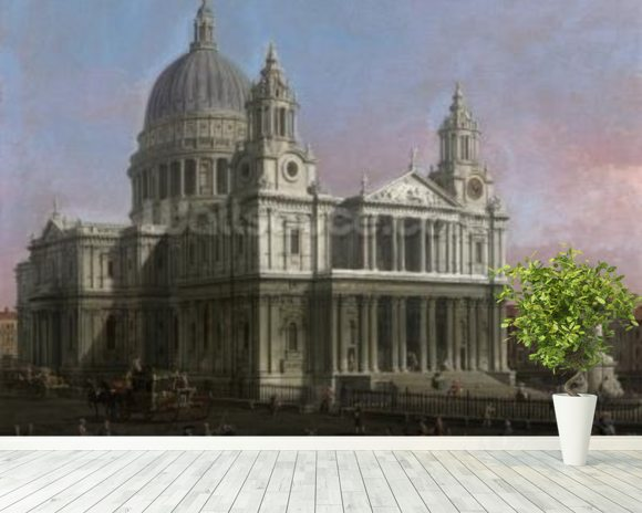 St. Pauls Cathedral, 1754 (oil on canvas) mural wallpaper room setting
