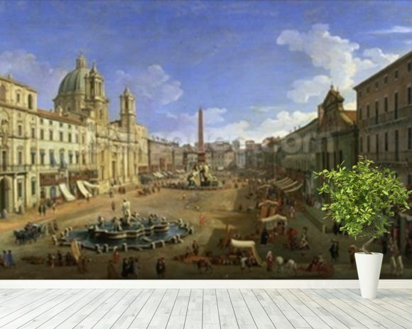 View of the Piazza Navona, Rome (oil on canvas) wall mural room setting