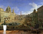 View of the Piazza Navona, Rome (oil on canvas) wall mural kitchen preview