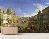 View of the Piazza Navona, Rome (oil on canvas) wall mural living room preview