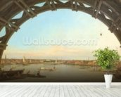 London seen through an arch of Westminster Bridge, 1746-7 (oil on canvas) wallpaper mural in-room view