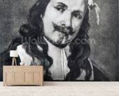 Self-portrait (oil on canvas) (b/w photo) wall mural living room preview