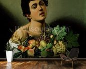 Youth with a Basket of Fruit, 1594 (oil on canvas) (detail of 104940) wallpaper mural kitchen preview