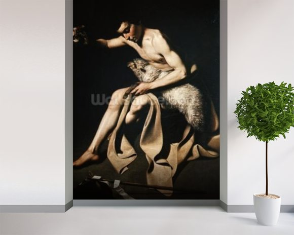 John the Baptist playing with a lamb (oil on canvas) wallpaper mural room setting