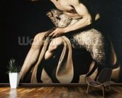 John the Baptist playing with a lamb (oil on canvas) wallpaper mural kitchen preview