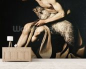 John the Baptist playing with a lamb (oil on canvas) wallpaper mural living room preview