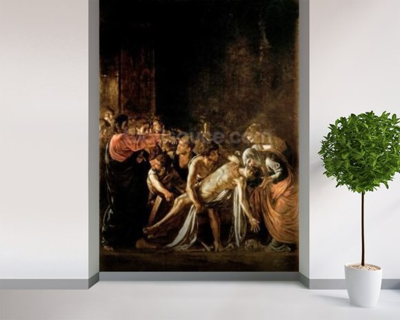 Resurrection of Lazarus (oil on canvas) (also see 232098,94,95) wallpaper mural room setting