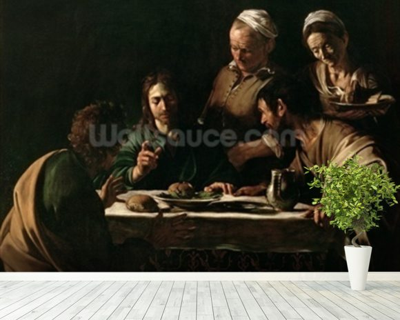 Supper at Emmaus, 1606 (oil on canvas) (see also 169588) wallpaper mural room setting