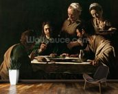 Supper at Emmaus, 1606 (oil on canvas) (see also 169588) wallpaper mural kitchen preview