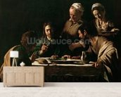 Supper at Emmaus, 1606 (oil on canvas) (see also 169588) wallpaper mural living room preview