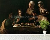 Supper at Emmaus, 1606 (oil on canvas) (see also 169588) wallpaper mural in-room view