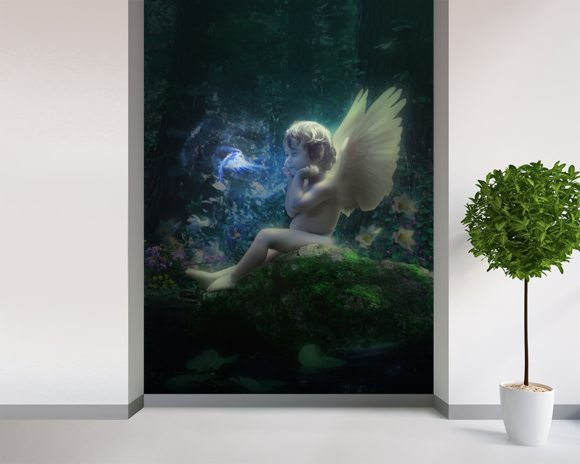 Elven Child mural wallpaper room setting