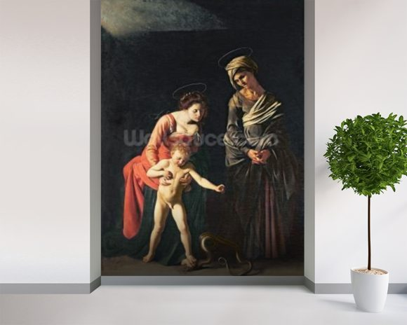 Madonna and Child with a Serpent, 1605 (oil on canvas) mural wallpaper room setting
