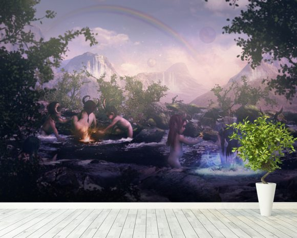 Water Elves At Play wall mural room setting