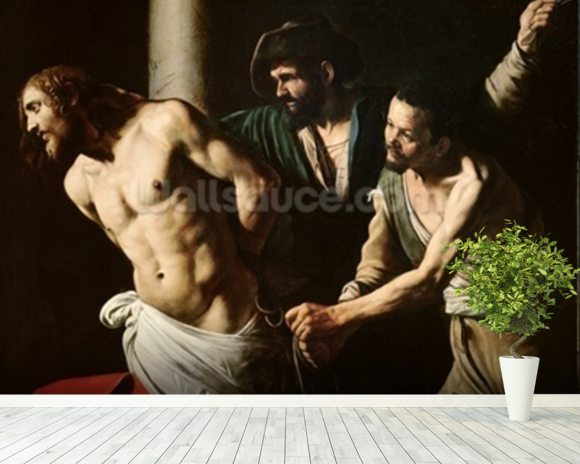The Flagellation of Christ, c.1605-7 (oil on canvas) wall mural room setting