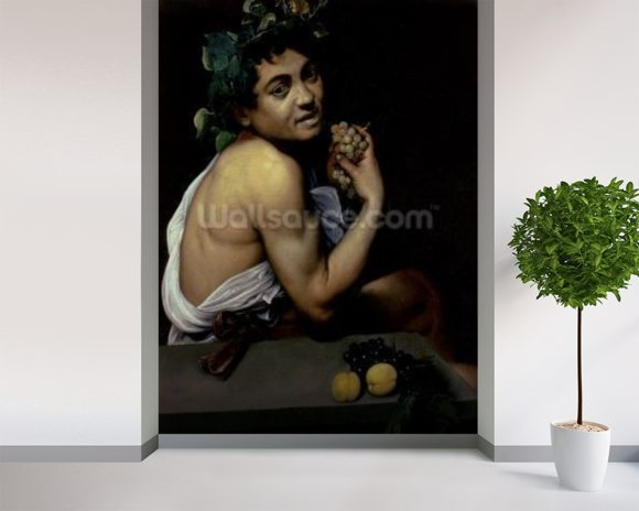 The Sick Bacchus, 1591 (oil on canvas) wallpaper mural room setting
