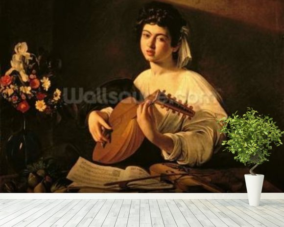 The Lute Player, c.1595 (oil on canvas) wallpaper mural room setting