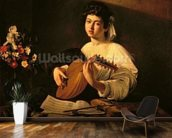 The Lute Player, c.1595 (oil on canvas) wallpaper mural kitchen preview
