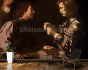 The Gamblers (oil on canvas) mural wallpaper kitchen preview