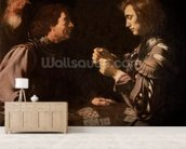 The Gamblers (oil on canvas) mural wallpaper living room preview