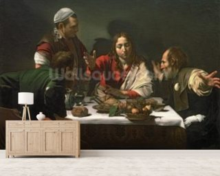 The Supper at Emmaus, 1601 (oil and tempera on canvas) mural wallpaper