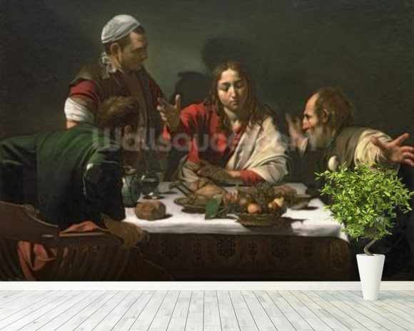 The Supper at Emmaus, 1601 (oil and tempera on canvas) mural wallpaper room setting