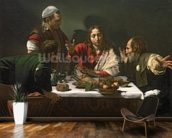 The Supper at Emmaus, 1601 (oil and tempera on canvas) mural wallpaper kitchen preview