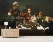 The Supper at Emmaus, 1601 (oil and tempera on canvas) mural wallpaper living room preview