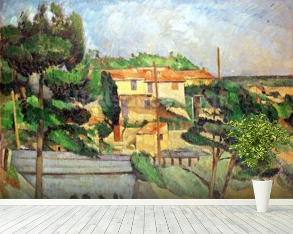 Viaduct at Estaque (oil on canvas) wallpaper mural room setting