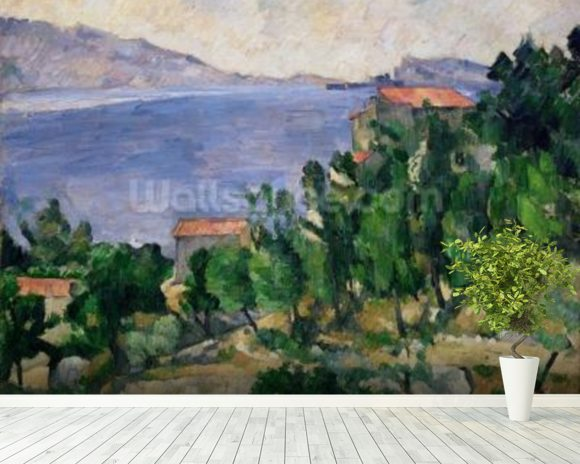 View of Mount Marseilleveyre and the Isle of Maire, c.1882-85 (oil on canvas) wall mural room setting