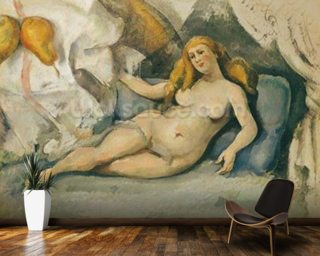 Female Nude on a Sofa (oil on canvas) mural wallpaper