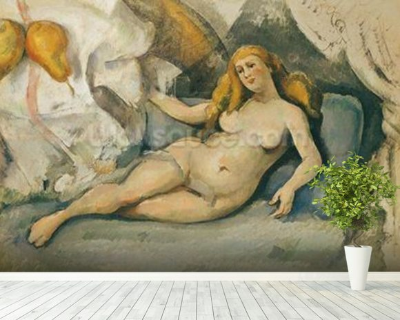 Female Nude on a Sofa (oil on canvas) mural wallpaper room setting