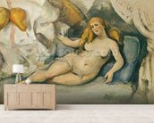 Female Nude on a Sofa (oil on canvas) mural wallpaper living room preview